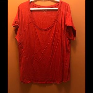 Red tee with raw hem